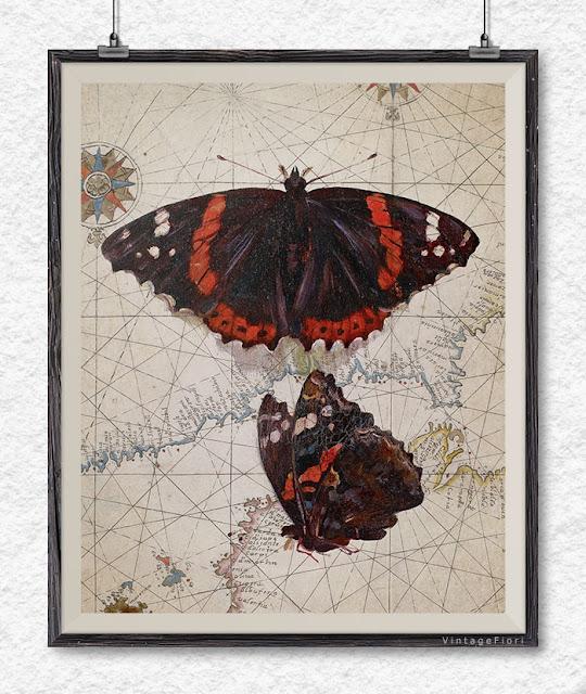 Butterfly art butterfly print antique map wall art - Etsy