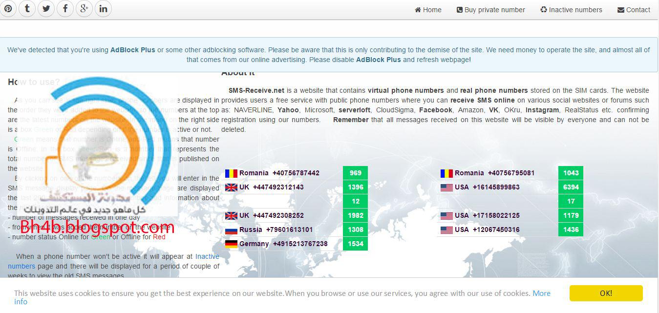 شرح موقع sms-receive.net