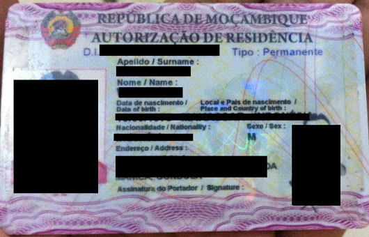 Mozambique (MZ) Resident Card for Foreigner Passport