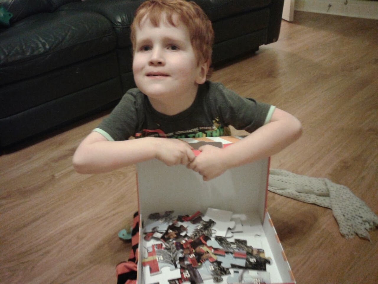 Ieuan with his Fireman Sam Advent Puzzle
