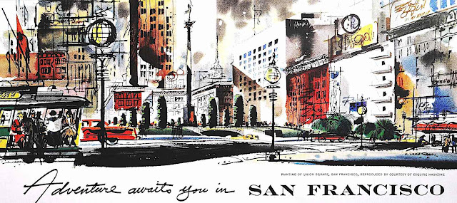 "a color poster ""Adventure awaits you in San Fancisco"""