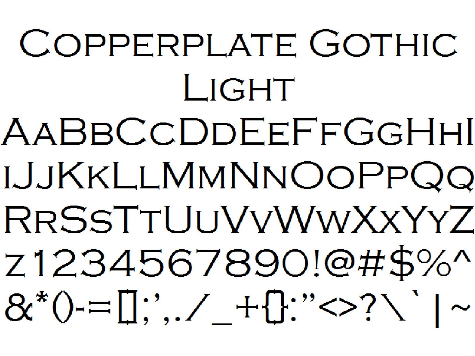 Font Alphabet Styles: Copperplate Gothic Light