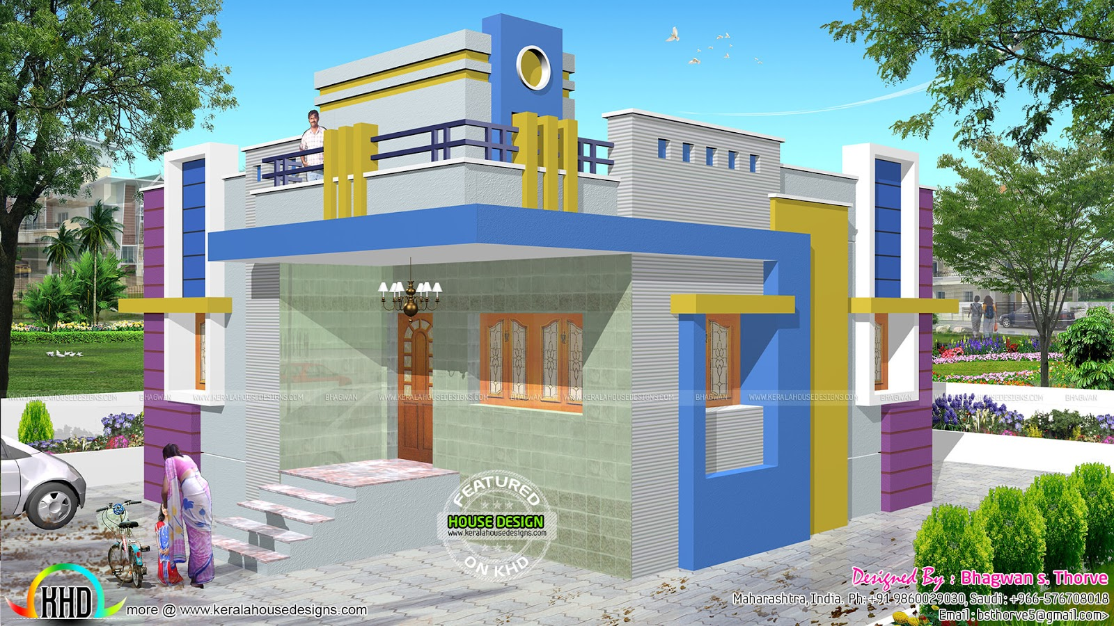North indian style house and blue print plan kerala home for House designs indian style