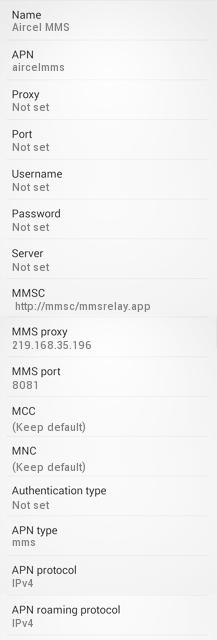 Aircel MMS Settings for Android