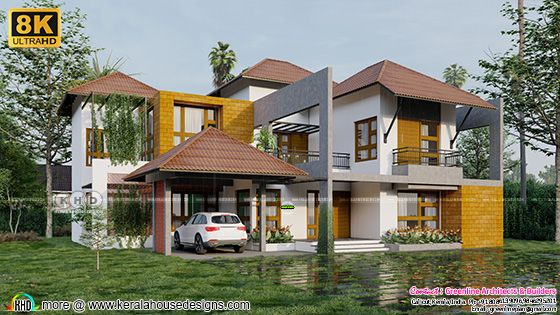 Kerala traditional style architecture with contemporary mix