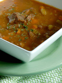 Instant Pot Beef & Potato Stew....this hearty,creamy, comforting stew takes just 35 minutes in the Instant Pot!  It tastes likes it's been cooking all day, when in reality you can start it at 5:00 and be finishing up by 6:00.  Beef Stew is perfect for winter comfort food! (sweetandsavoryfood.com)