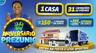 Cadastrar Promoção Prezunic Aniversário 2019 - 1 Casa e 31 Caminhões de Prêmios