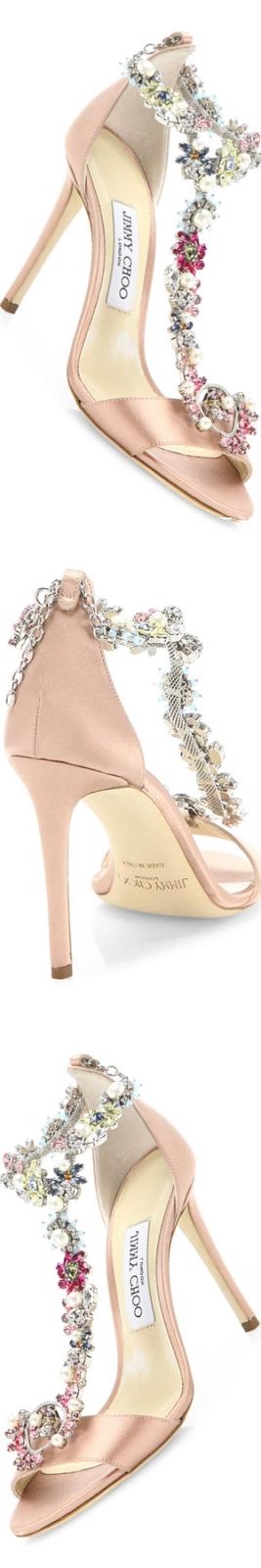 Jimmy Choo Reign 100 Crystal-Embellished Satin T-Strap Sandals