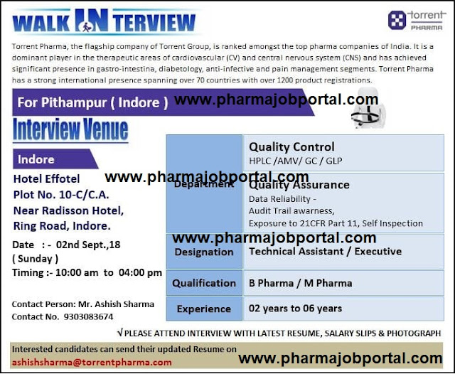 TORRENT PHARMA  Walk In Interview For Quality Assurance, Quality Control at 2  September