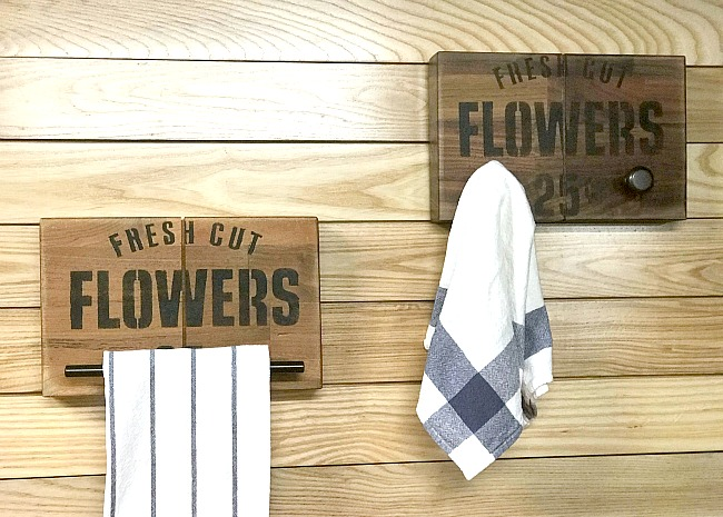 Towel holders made from butcher block for a farmhouse kitchen.