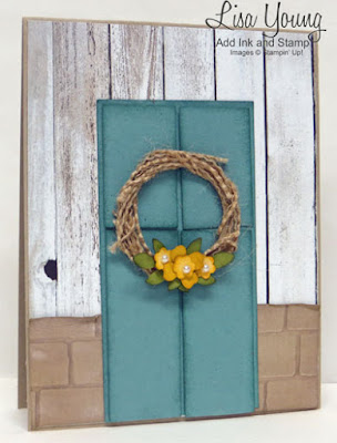 Stampin' Up! products. Brick embossing folder. English Garden paper. Barn wood paper with paneled door and wreath. Handmade card by Lisa Young, Add Ink and Stamp