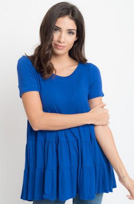 Buy now Roayl blue Short Sleeve Ruffled Tiered Tunic Online $10 -@caralase.com