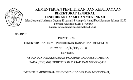 DOWNLOAD JUKLAK PROGRAM INDONESIA PINTAR (PIP) 2018