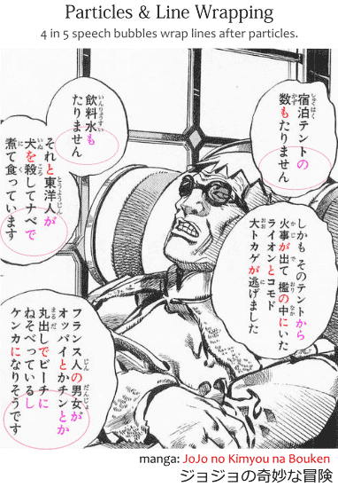 Particles and line wrapping in Japanese grammar, as shown in the manga JoJo no Kimyou na Bouken ジョジョの奇妙な冒険