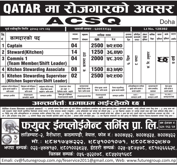 Jobs For Nepali In Qatar, Salary -Rs.72,900/