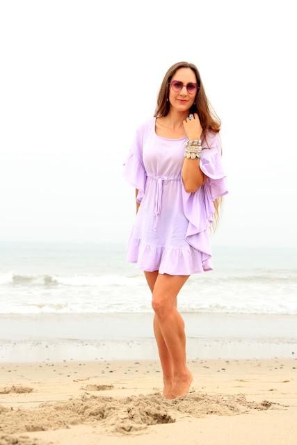Lavender Mini Ruffle Caftan - Beach Cover Up Dress