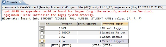 CRUD Operations Using Hibernate