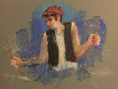 Loose oil pastel drawing of a young man playing drums drawing on dark blue paper using cool color scheme.