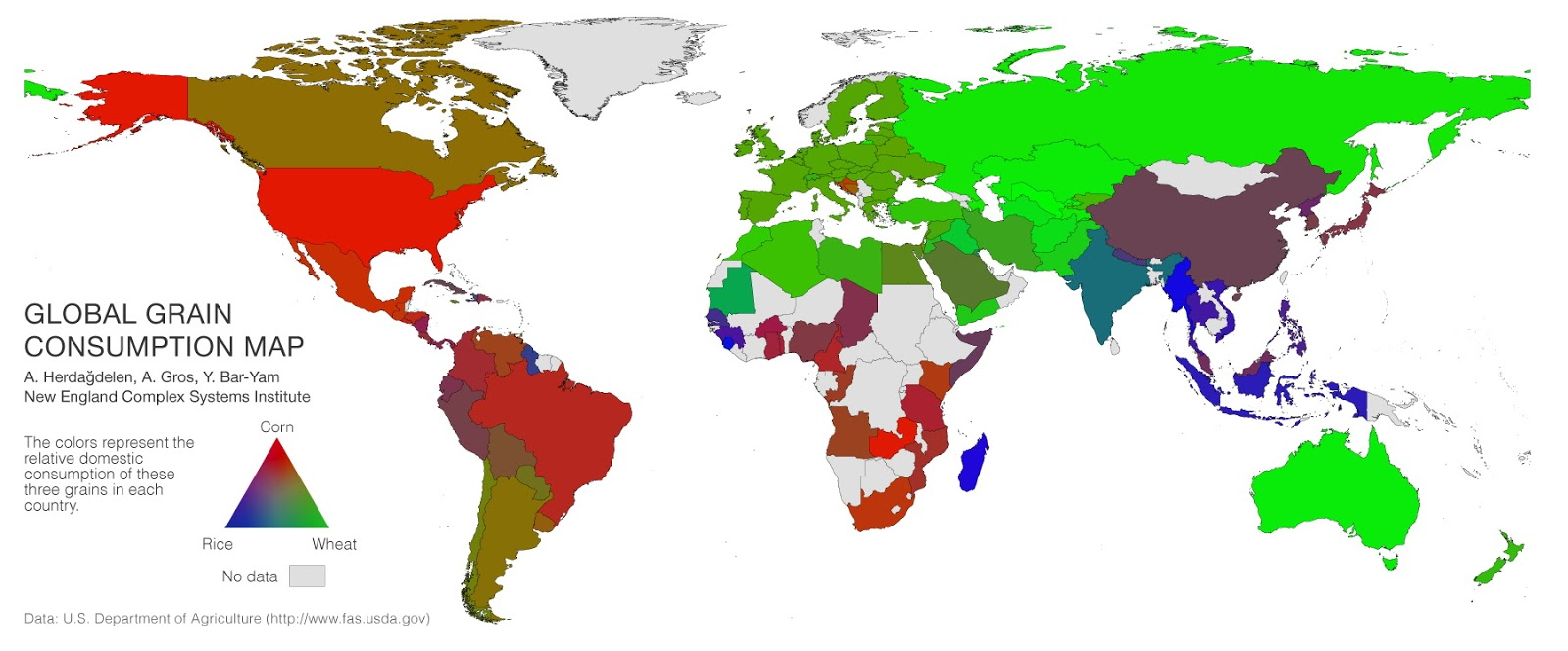 Global grain consumption map