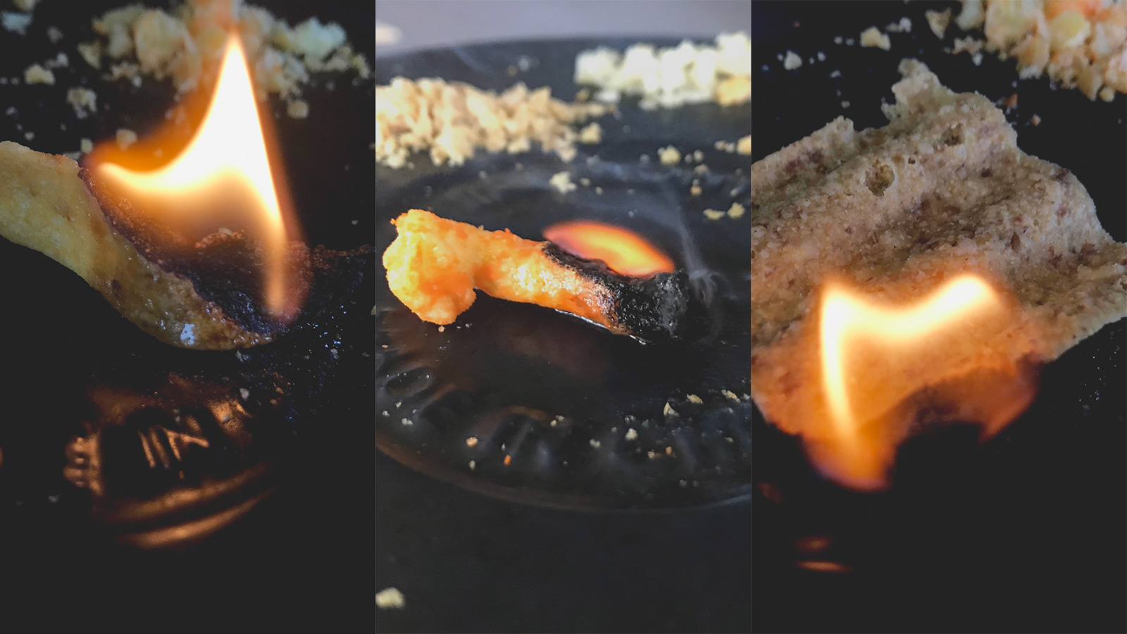 Testing Fritos, Cheetos, and Sun Chips as fire starting tinder.