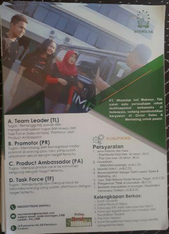 Lowongan kerja PT Wismilak Cirebon