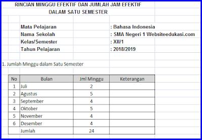 File Pendidikan Rincian Minggu Efektif Bahasa Indonesia Kelas 12 K13 Revisi 2018