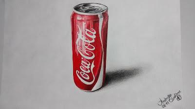 desenho realista coca cola