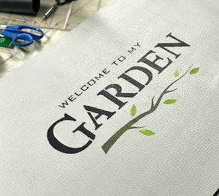 stenciled garden mat section