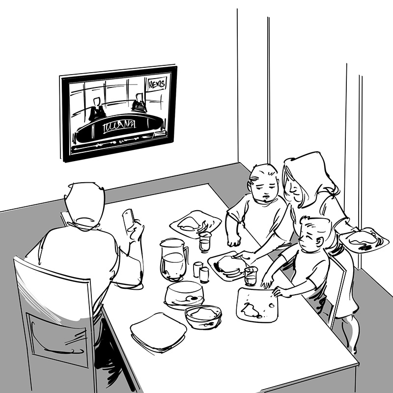 kid's children's picture book black and white line drawing illustrationman woman brother sister watching tv while eating