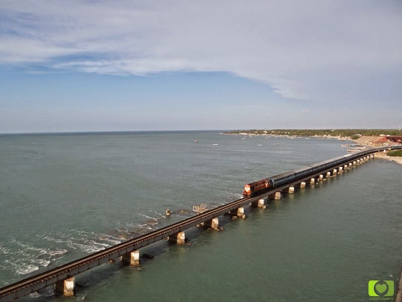 Madurai passenger entering Pamban bridge @Rameswaram.