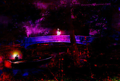 Free-e-card: Juliet Stands on a bridge in the pink/purple light, waiting for her Romeo in a boat below