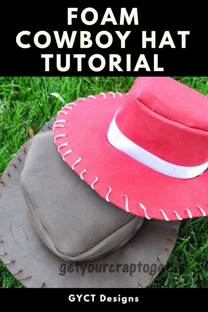 Follow this step by step tutorial on how to make a cowboy hat from foam for Halloween costumes or dress up boxes