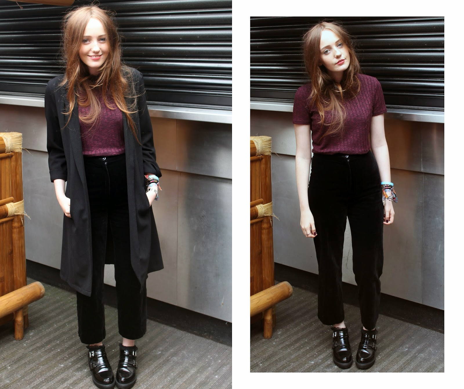 primark black duster coat, forever 21 plum crop top, velvet awkward length trousers and primark monk shoes