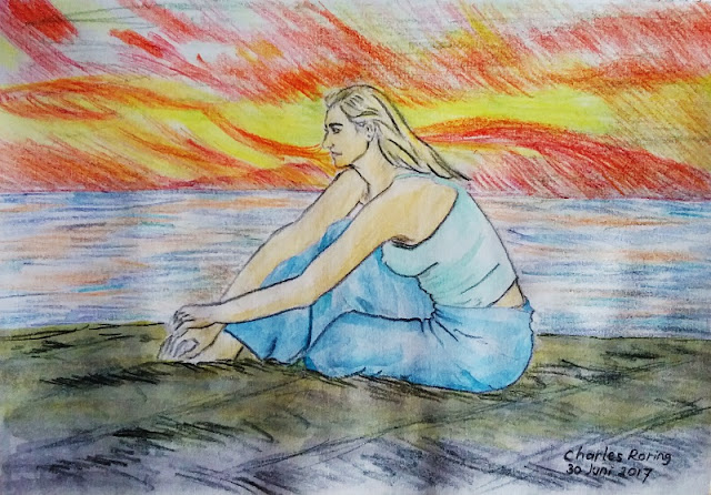 Drawing of a lady created with Derwent watercolour pencils