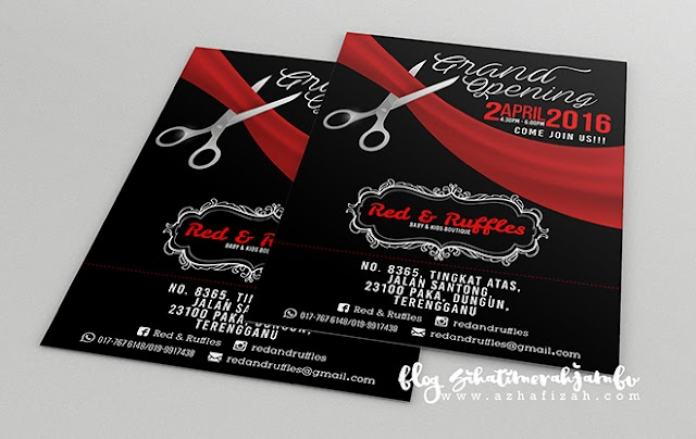 Design Kad Jemputan Grand Opening Baby & Kids Boutique Red & Ruffles