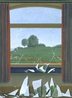 Cuadro de una ventana rota con el mismo paisaje en los cristales rotos
