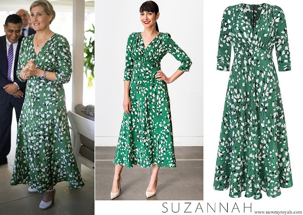 The Countess of Wessex wore  a green midi dress by Suzannah