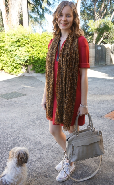 Casual SAHM Autumn Dress Outfit red shift dress converse chucks leopard print scarf
