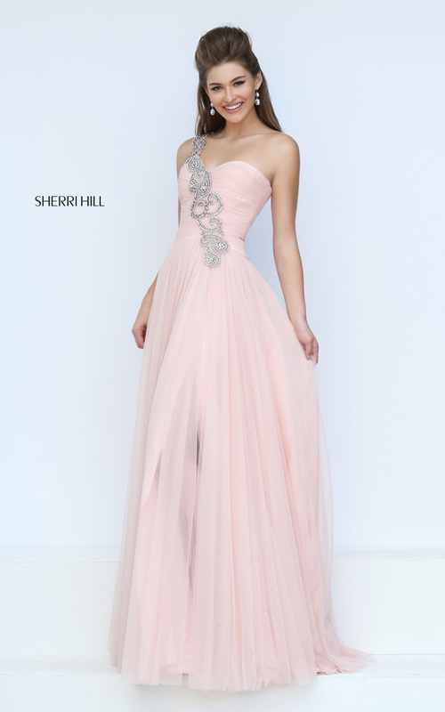 31012c75e13d This asymmetrical one shoulder Sherri Hill 50409 prom dress will make you  feel like royalty. Made entirely of tulle