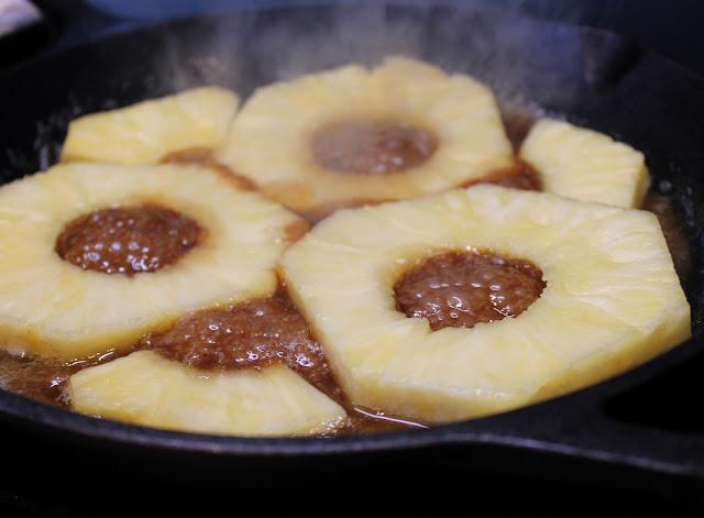 Pineapple cooking in Caramel Sauce