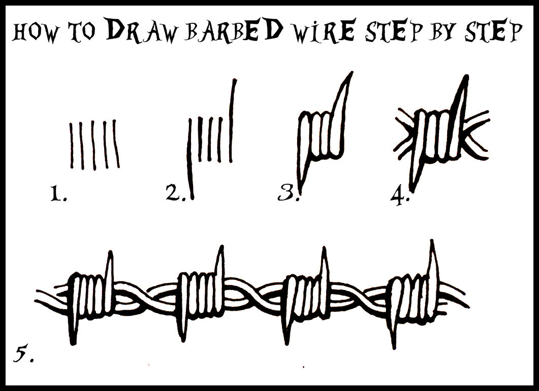 DARYL HOBSON ARTWORK: How To Draw Barbed Wire: Step By Step