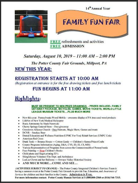 8-10 Family Fun Fair, Millport, PA