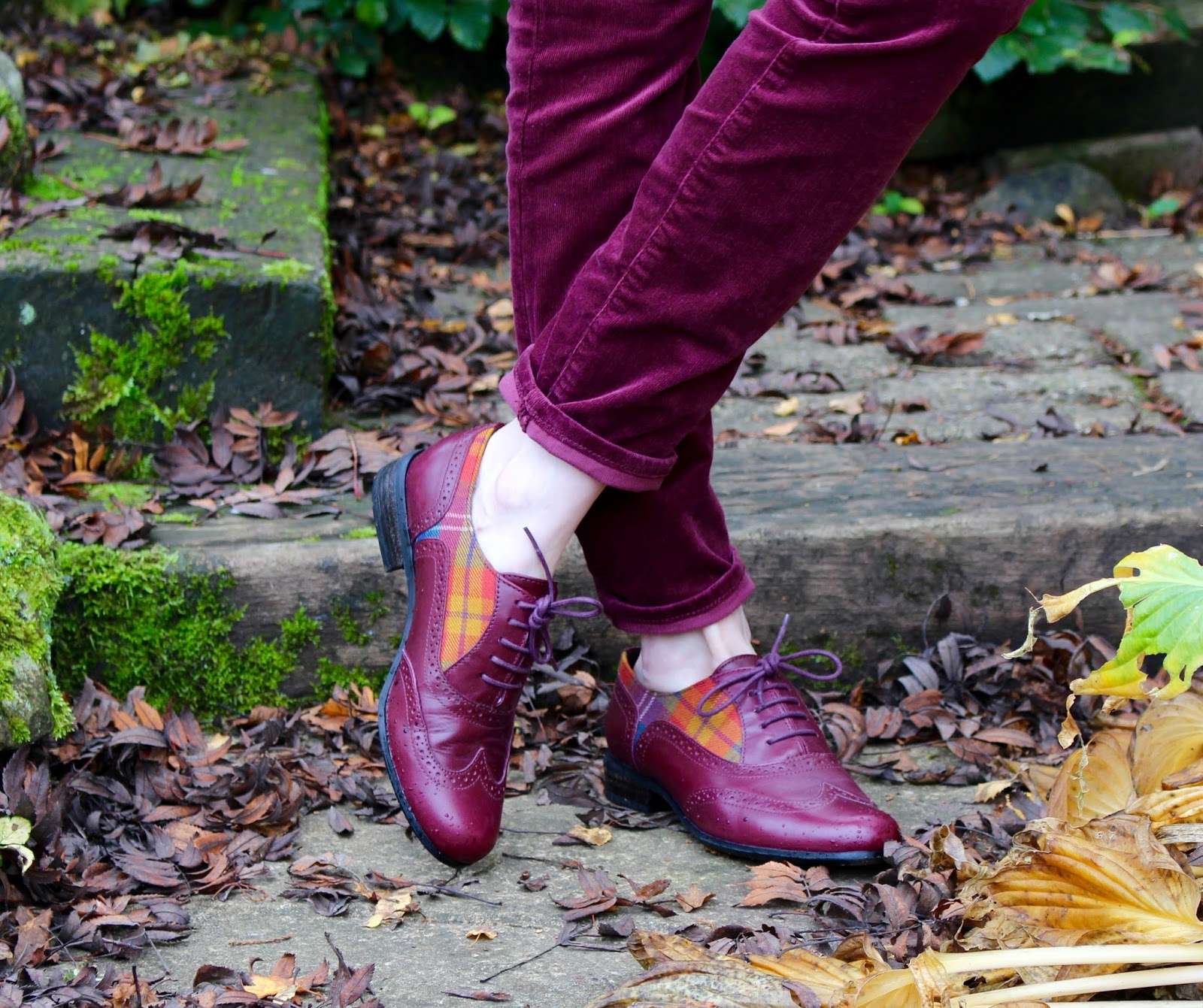 Oxblood leather brogues with a tartan trim.