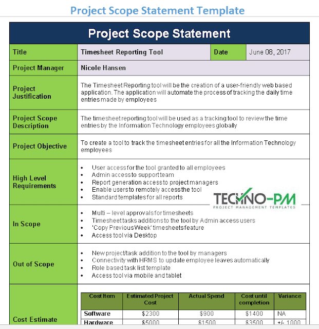project scope statement template, project scope document template, project scope statement example