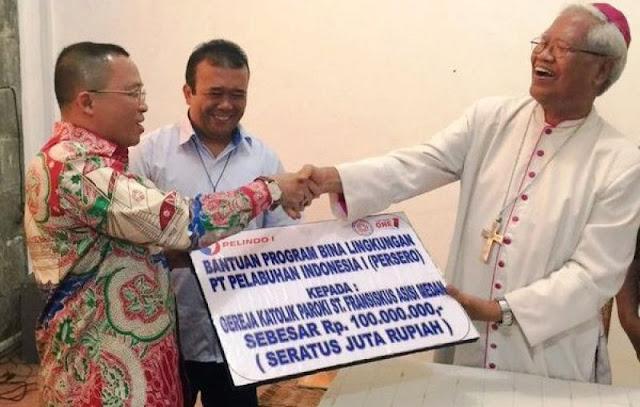 Pelindo I Bantu Pembangunan Gereja Rp100 Juta