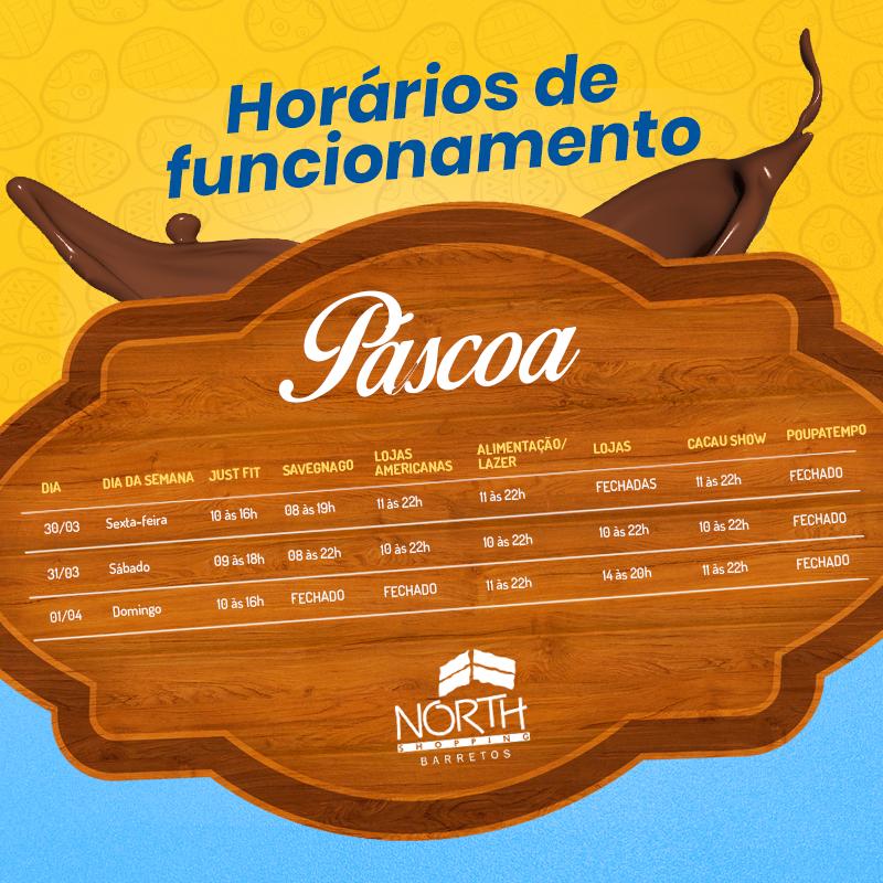 HORÁRIO DE FUNCIONAMENTO DO NORTH SHOPPING NA PÁSCOA - Indústrias aumentam produção e lojistas do North Shopping investem na variedade de chocolates