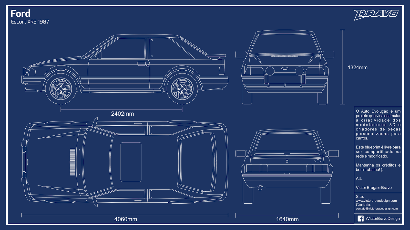 Imagem do blueprint do Ford Escort XR3 1987
