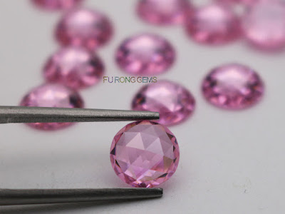 Pink-Color-Cubic-Zirconia-Rose-Cut-8mm-Gemstones-wholesale