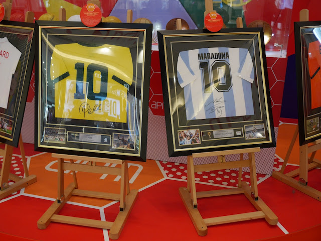 Signed Pele and Maradona jerseys