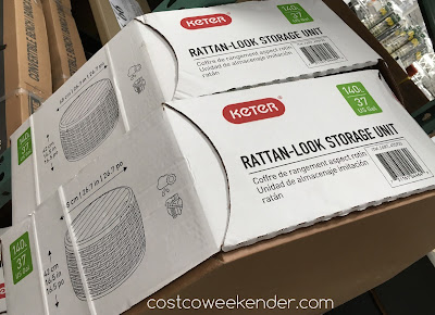 Costco 475933 - Keter Rattan-Look Storage Unit - great as an end table, coffee table, or ottoman